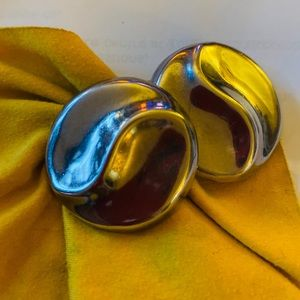 Big round Mexican silver clip on earrings.